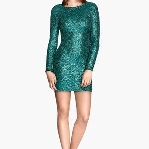 Divided Green and Blue Sequin Mini Dress